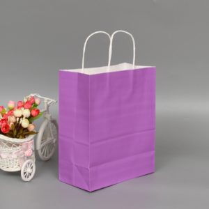 10 PCS Elegant Kraft Paper Bag With Handles for Wedding/Birthday Party/Jewelry/Clothes, Size:22x27x11cm(Purple)