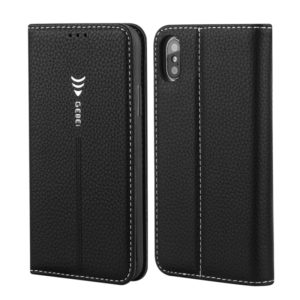 For iPhone XR GEBEI PU+TPU Horizontal Flip Protective Case with Holder & Card Slots(Black) (GEBEI)