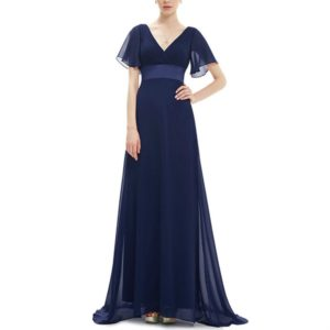 Evening Dresses Padded Trailing Flutter Summer Style Dresses, Size:XXL(Dark Blue)