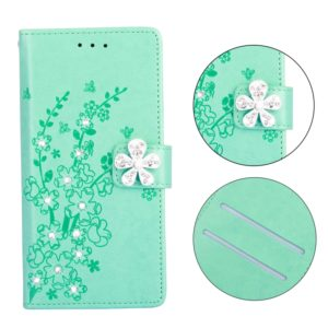 Plum Blossom Pattern Diamond Encrusted Leather Case for Galaxy A6+ (2018) ,with Holder & Card Slots(Plum green)