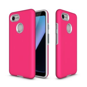 Anti-slip Armor Texture TPU + PC Case for Google Pixel 3 (Rose Red)