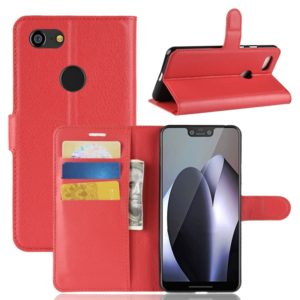 Litchi Texture Horizontal Flip Leather Case for Google Pixel 3 XL, with Wallet & Holder & Card Slots (Red)