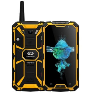 Conquest S8+, 4GB+64GB, Walkie Talkie Function, 6000mAh Battery, IP68 Waterproof Dustproof Shockproof Anti-pressure Explosion-proof, Fingerprint Identification, 5.0 inch Android 6.0 MTK6755 Octa Core up to 2.0GHz, Network: 4G, NFC, OTG, IR(Yellow) (CONQUE
