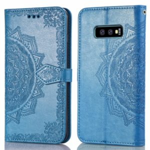 For Galaxy S10e Halfway Mandala Embossing Pattern Horizontal Flip Leather Case with Holder & Card Slots & Wallet & Lanyard(Blue)