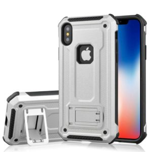 For iPhone X / XS Ultra-thin Shockproof TPU + PC Protective Back Case with Holder (Silver)
