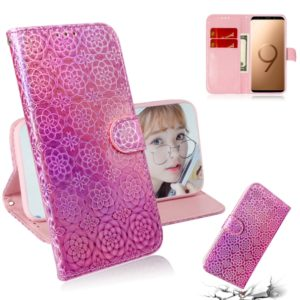 For Galaxy S9 Plus Solid Color Colorful Magnetic Buckle Horizontal Flip PU Leather Case with Holder & Card Slots & Wallet & Lanyard(Pink)