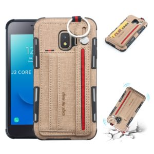 For Galaxy J2 Core Cloth Texture + TPU Shockproof Protective Case with Metal Ring & Holder & Card Slots & Hanging Strap(Khaki)