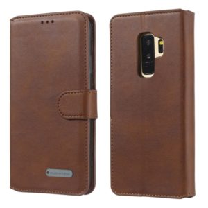 For Galaxy S9+ Solid Color Buckle Horizontal Flip Leather Case with Wallet & Holder & Card Slots(Brown)
