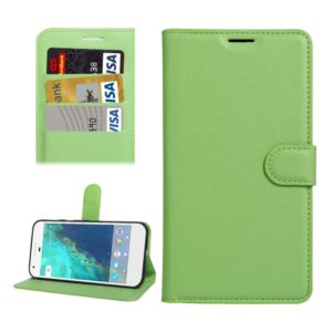 For Google Pixel XL Litchi Texture Horizontal Flip Leather Case with Holder & Card Slots & Wallet(Green)