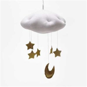 Baby Nursery Ceiling Mobile Party Decoration Clouds Moon Stars Hanging Decorations Kids Room Decoration for Baby Bedding(White Gold)