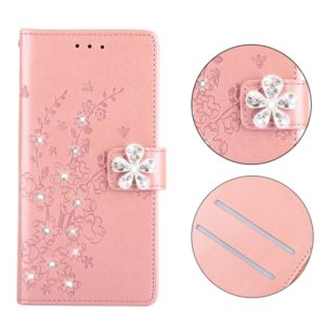 Plum Blossom Pattern Diamond Encrusted Leather Case for Huawei Mate 20 Lite with Holder & Card Slots(Plum Rose Gold)
