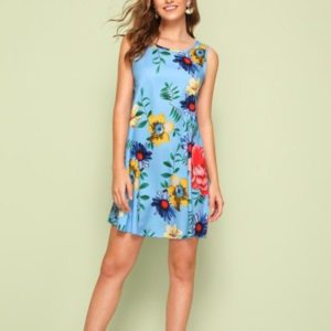 Spring and Summer Print Sleeveless Vest Dress (Color:Blue Size:L)