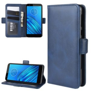 For Motorola Moto E6 Wallet Stand Leather Cell Phone Case with Wallet & Holder & Card Slots(Dark Blue)