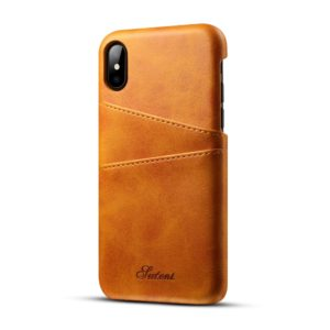 Suteni Calf Texture Protective Case for iPhone X / XS, with Card Slots (Brown)