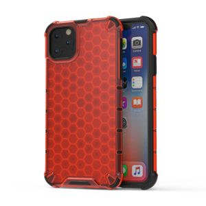 Shockproof Honeycomb PC + TPU Case for iPhone 11 Pro Max(Red)