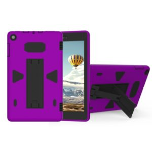 For Amazon Kindle Fire HD 8 2017 PC+Silicone Shockproof Protective Back Cover Case With Holder (Black + Purple)