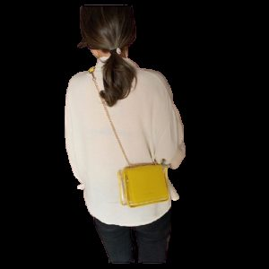 2 in 1 Solid Color Casual Small Square Bag Chain Shoulder Bag Ladies Handbag Messenger Bag (Yellow)