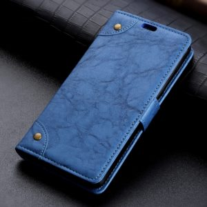 Copper Buckle Retro Crazy Horse Texture Horizontal Flip Leather Case for Huawei Honor Magic 2, with Holder & Card Slots & Wallet (Blue)