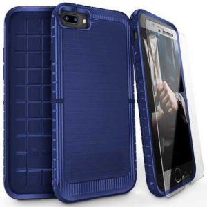 ZIZO Dynite Case (dark blue) by CLICK CASE for iPhone 8 Plus / 7 Plus - Featuring Anti-Slip Grip and Full Clear 9h Tempered Glass Screen Protector 1DYN-IPH7PLUS-DBL