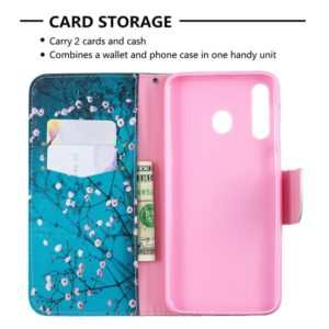 Colored Drawing Pattern Horizontal Flip Leather Case for Samsung Galaxy M30,with Holder & Card Slots & Wallet(Plum Blossom)