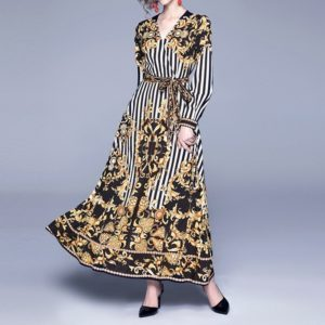 V-neck Long-sleeved Big Swing Printed Lace Dress (Color:Yellow Size:XL)