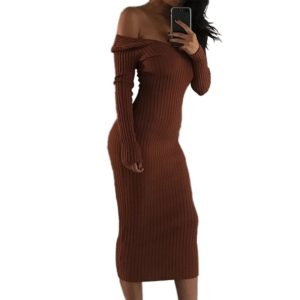 Sexy Strapless Dress Big V-neck Long-sleeved Dress (Color:Brown Size:S)