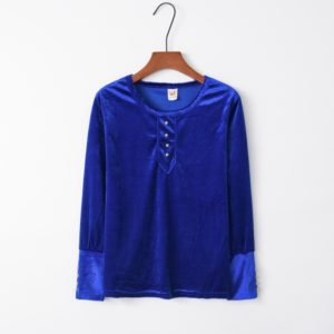 Velvet Button Women Sweatershirt (Color:Blue Size:S)