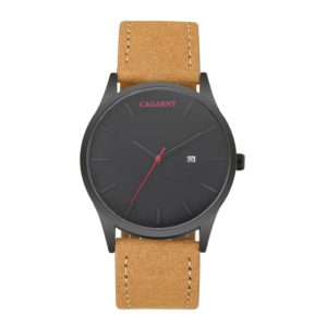 CAGARNY 6850 Fashion Dual Quartz Movement Wrist Watch with Genuine Leather Band(Brown Band Black Window) (CAGARNY)