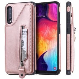 For Galaxy A50 Solid Color Double Buckle Zipper Shockproof Protective Case(Rose Gold)
