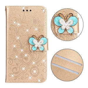 Diamond Encrusted Butterflies Love Flowers Pattern Horizontal Flip Leather Case for iPhone XR with Holder & Card Slots & Wallet & Lanyard(Butterfly Gold)
