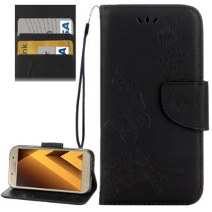 For Galaxy A5 (2017) / A520 Butterflies Embossing Horizontal Flip Leather Case with Holder & Card Slots & Wallet & Lanyard (Black)