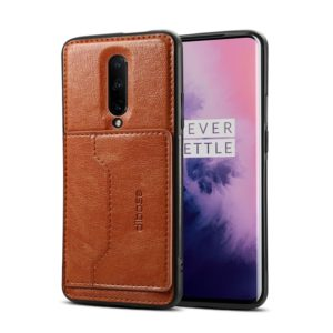 Dibase TPU + PC + PU Crazy Horse Texture Protective Case for OnePlus 7 Pro, with Holder & Card Slots(Brown) (dibase)