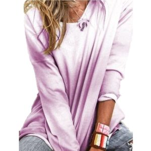 Women Loose Long-sleeved Shirt Gradient T-shirt (Color:Purple Size:S)