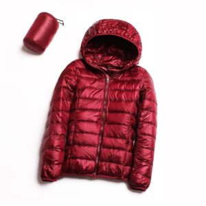 Casual Ultra Light White Duck Down Jacket Women Autumn Winter Warm Coat Hooded Parka, Size:M(Wine Red)