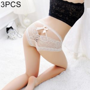 3 PCS FunAdd Women Fashion Bowknot Lace Low-waisted Underwear Straps Cross Sexy Enticing Panties, Free Size(Flesh Color) (FunAdd)