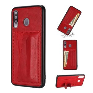 For Galaxy A40s Shockproof PC + PU Protective Case with Spring Holder & Card Slot(Red)