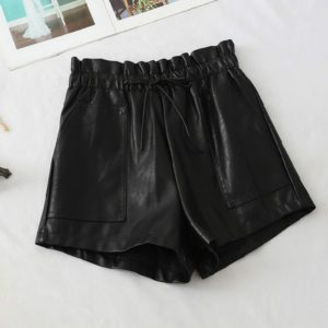 Autumn Leather Drawstring Lace High Waist Shorts, Size: L(Black)