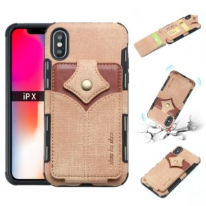 For iPhone XS / X Cloth Texture + PU + TPU Shockproof Protective Case with Card Slots(Khaki)