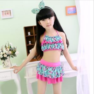 Two Pieces Polyester Floral Big Size Swimming Suits for Children, Size:XXL(Green Print)