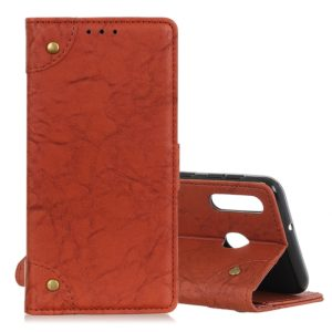 Copper Buckle Retro Crazy Horse Texture Horizontal Flip Leather Case for Galaxy M30/A40S, with Holder & Card Slots & Photo Frame (Brown)