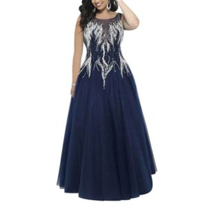 Fashion Luxury Embroidered Diamond Slim Sleeveless Mesh Long Dress Evening Gown, Size:M(Blue)