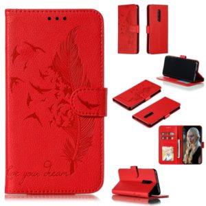 Feather Pattern Litchi Texture Horizontal Flip Leather Case with Wallet & Holder & Card Slots For OnePlus 7 Pro(Red)